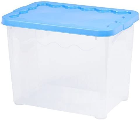 Conjunto de 2 PLÁSTICO 20 Litro Cajas Almacenaje con tapa apilables Contenedor - Azul Claro Tapa: Amazon.es: Hogar