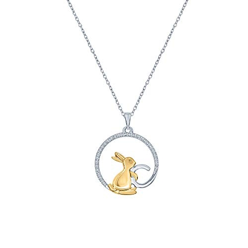 La Joya 925 Sterling Silver 1/8ct Round White Diamond Yellow Plated Bunny Rabbit Pendants Necklaces for Women Teens Independence Day Sales