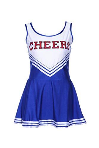 Vepodrau Women Girl Cheerleading Uniform Halloween Cosplay Fancy Dress Costume Blue -