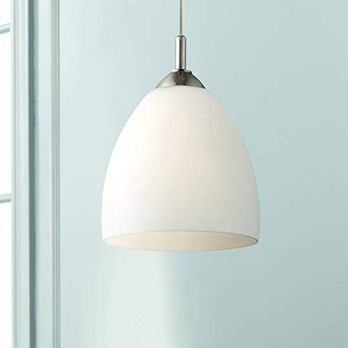 Brushed Nickel Plug in Mini Swag Pendant Light 9 Wide Modern Opal Glass Shade Fixture for Kitchen Island Dining Room – Possini Euro Design