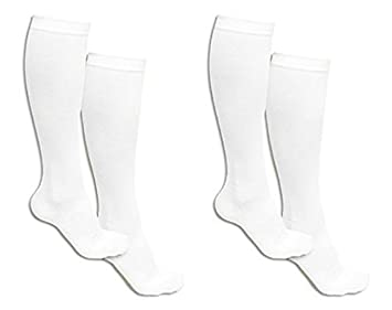 b7e5e198673 Pack of 2 White Pairs Which Is 4 Knee to Upper Calf High Compression Socks  for