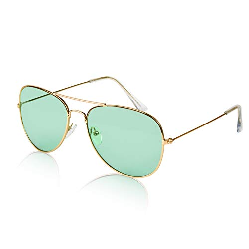 Large Trendy Stylish Sunglasses 70s Color Aviator Glasses Adult Sunnies Green