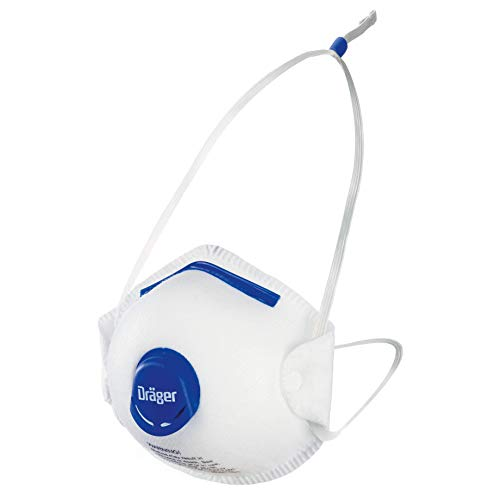 Dräger X-plore 1350 N95 Particulate Respirator with Exhalation Valve, 10 Pack, Size S/M, NIOSH-Certified, Disposable Dust Mask, Adjustable Head Harness, Low Breathing Resistance Continuous Pressure Seal Form