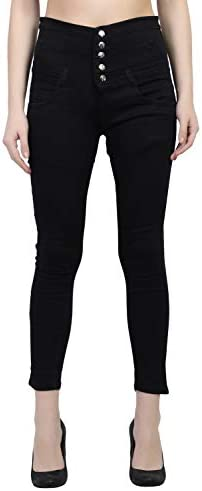 LUXSIS Women's/Ladies/Girls Denim Plain/Solid Jeans High Waist Stretchable Slim Fit Ankle Length Jeans – Black, 32