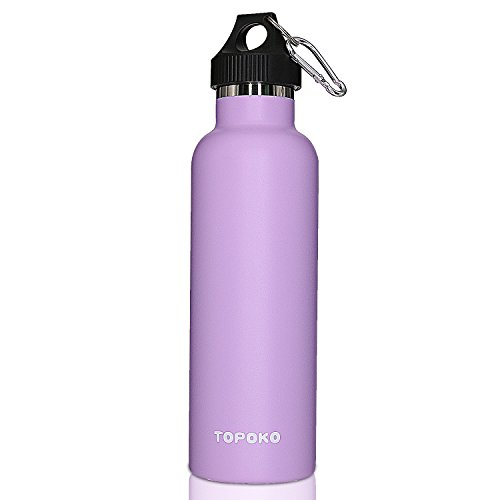 TOPOKO 25 oz Stainless Steel Vacuum Insulated Water Bottle, Keeps Drink Cold up to 24 hours & Hot up to 12 hours, Leak Proof and Sweat Proof. Large Capacity Sports Bottle (Purple)