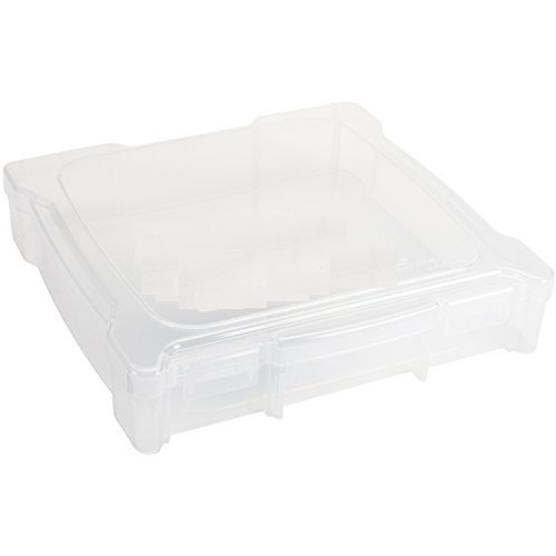 ArtBin 6912AB Essentials Storage Box, 14.125 by 13.625 by 3-Inch, Translucent 12x12 Photo Supply Case