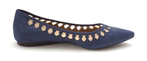 Toe Womens Pointed Slide Casual French Sole Sandals Venus Navy Nubuck FIw1q