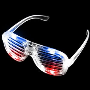 Fun Central I466, 1 Pc, Red-White-Blue LED Slotted Shades, LED Party Sunglasses, Glow Eyeglasses, Glow In The Dark Slotted Shades, Flashing ()