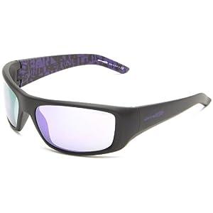 Arnette Hot Shot AN4182 Wrap Sunglasses,Fuzzy Black with Distressed Purple inside/Purple Mirror,62 mm