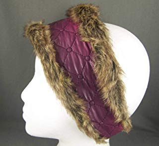 Fur Quilted Hat - Purple Pink faux fur lined quilted ear warmer muffs head wrap hat cover ski