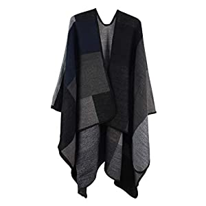 VamJump Women Poncho Open Front Blanket Shawl Capes Knitted Sweater Cardigan Wraps