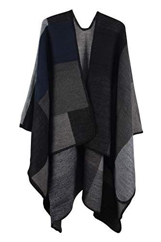 VamJump Women Winter Cashmere Oversized Blanket Poncho Cape Shawl Cardigan Coat, Black, Onesize