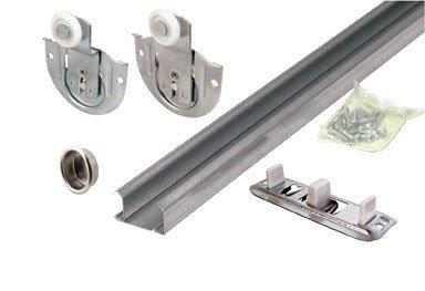 Slide-Co 163589 By-Pass Wardrobe Track Kit, 48 in. Opening, Dial-Adjusting Rollers, Steel, 7/8 in. Plastic Wheels