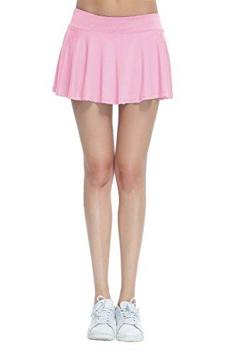 HonourSport Jupe-Short Pliss Courte Uni Skort Jupe de Tennis XS  XL-Femme Rose Clair