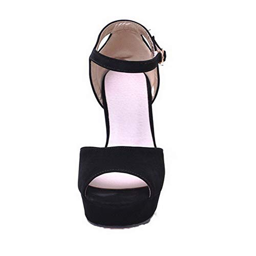 Women Solid Agoolar fibbia Gmxlb010603 con Sandals Black alto Dress Tacco dpqwq5