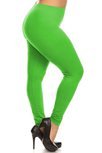 Leggings Depot Ultra Soft Basic PLUS Solid Plain Best Seller Leggings Pants 128 (Neon Green)