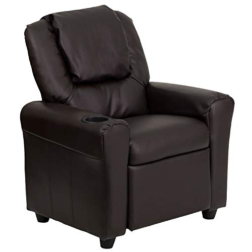 Flash Furniture Contemporary Brown Leather Kids Recliner with Cup Holder and Headrest,