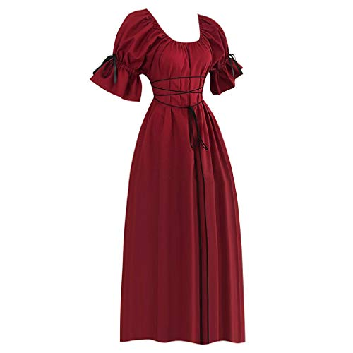 miqiqism Womens Medieval Victorian Costume Boho Off Shoulder Cap Sleeve Lace-up Waist Renaissance Party Maxi Dress Chemise (XL, Wine)