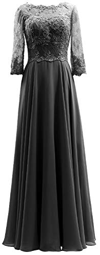 Dress Lace Evening Mother Of 3 Women Sleeves Maxi 4 Black Bride Formal Macloth Gown qI7wRYp