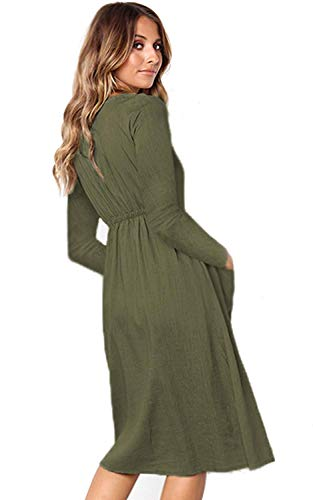 V Neck with Decorative Green Sleeve Pockets Button Dress Chunoy Women Midi Solid Long wZIqtt