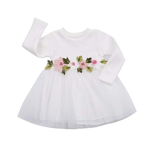 GRNSHTS Baby Girls Flower Applique Long Sleeve Gauze Dress (70/0-6 Months, White)
