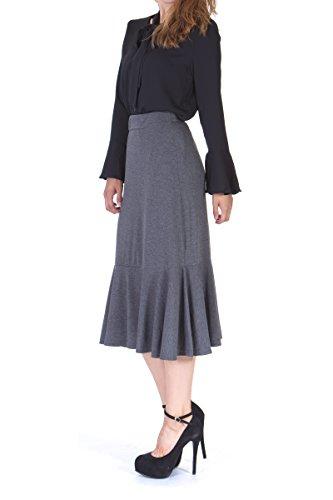 Dani's Choice Flowy Elastic Waist Frilled Hem Fish Tail Mermaid Flared Midi Skirt (S, (Mermaid Skirt Pattern)