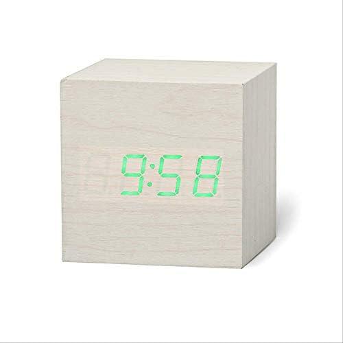 認定デジタル木製Led目覚まし時計ウッドレトログロー時計デスクトップテーブルの装飾音声コントロールスヌーズ機能デスクツール