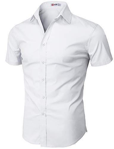 H2H Mens Basic Short Sleeves Button Down Shirts with Well-Designed Outfit White US S/Asia M (KMTSTS0132)