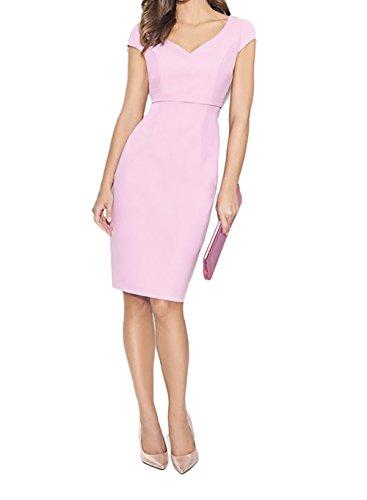 Charmant Elegant Abendkleider Kurzarm Ballkleider Etuikleider Rosa mit Damen Rosa Partykleider Knielang rqwUrg