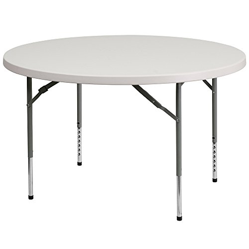 (Flash Furniture 48'' Round Height Adjustable Granite White Plastic Folding Table)