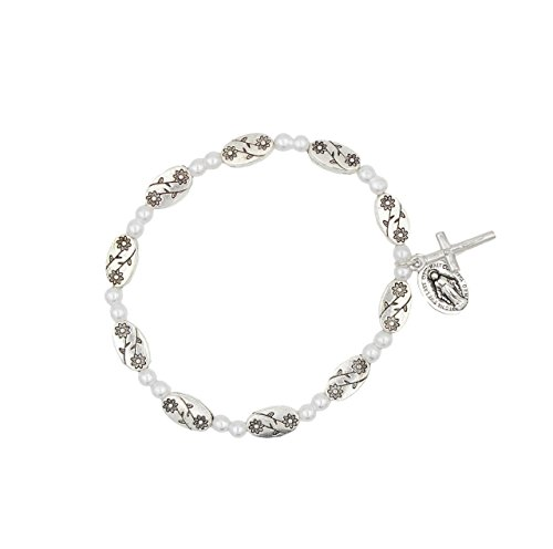 (Unique 6 x 11mm Oval Flower Metal Stretch Rosary Bracelet with with Crucifix and Miraculous Medal)