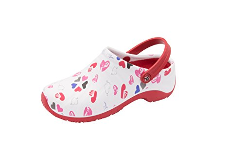 white Food Shoe Service Heart Women's Multi Health Care Zone And Anywear red wqvX0Yx