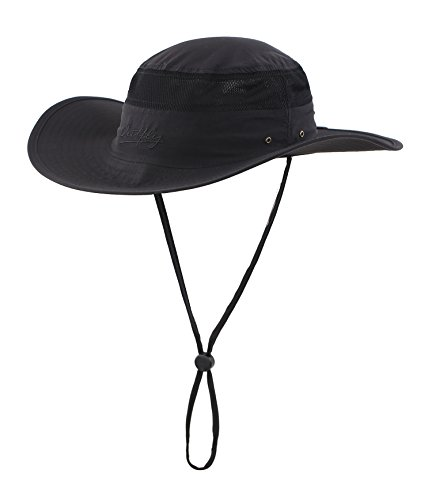 Home Prefer Men's Sun Hat UPF 50+ Wide Brim UV Protective Safari Outback Bucket Hat Fishing Hat Black