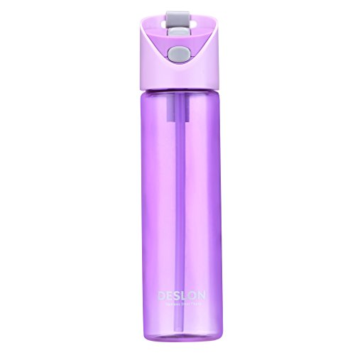DESLON Tritan Purple Water Bottle Straw Kids Girls BPA Free Portable Plastic Travel Mug Women 22 OZ