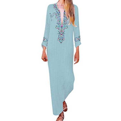 Londony✔ Women's Bohemian V Neck Vintage Printed Ethnic Style Summer Dress Sleeveless Printed Casual Slit Dresses Light Blue ()
