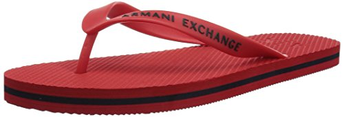 A|X Armani Exchange Men's Classic Armani Exchange Logo Flip-Flop, Absolute Red, 8 M - Men Armani