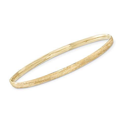 Ross-Simons Certified Italian 14kt Yellow Gold Brushed Bangle Bracelet