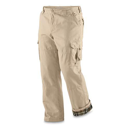 Guide Gear Men's Flannel Lined Cargo Pants, Khaki, W32 L34