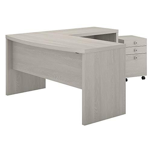 SHW Home Office 48-Inch Computer Desk, Silver/Espresso
