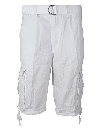 (Tank Men's Light Twill Cargo Shorts, White, 40)