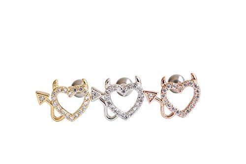 Barbell 6 Ga (16g Body jewelry cartilage cute cool earring tragus helix barbell CZ cubic zirconia crystal baby evil devil Heart ear studs earring piercing for women teens girls men-GA,heart jewelry)