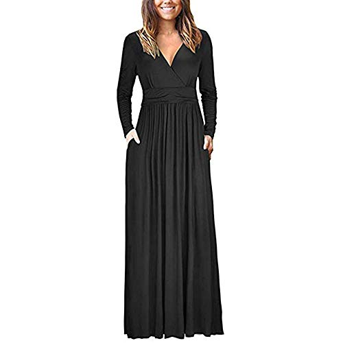 Sunyastor Women's Long Sleeve V Neck Loose Plain Maxi Dresses Casual Long Dresses Evening Party A Line Swing Dress Pockets