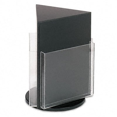 Deflecto 592804 Countertop revolving 3-pocket magazine rack, clear pockets, black base, 13h