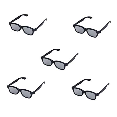 Domccy 5 Pairs of Adults Passive Circular Polarized Lens 3D Glasses for Movie/Cinema/Theater/3D TV/3D Projector-Black Plastic Jewelry accessories, novelty jewelry, men and women jewelry (Glasses 3d Passive Projector)