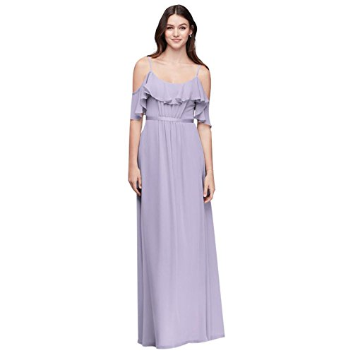 0d34aeebd2a04 Home/Bride Dresses/David's Bridal Cold-Shoulder Crinkle Chiffon Bridesmaid  Dress Style F19508, Iris, 12. ; 