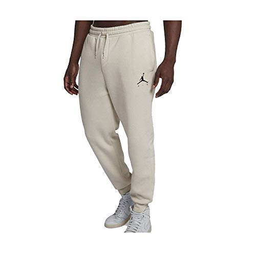 642f395105354a Jordan Nike Mens Jumpman Fleece Sweatpants Light Bone Black 940172-072 Size  Large