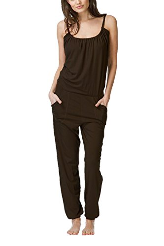 Linsery Womens Summer Casual Strappy Top Harem Pants Leisure Wear Outfits Jumper,Coffee,Medium