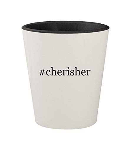 #cherisher - Ceramic Hashtag White Outer & Black Inner 1.5oz Shot Glass]()