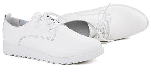 Baskets Plates Femmes, Chaussures À Lacets En Cuir Travail Décontracté Chaussures 2 Couleurs Taille 5.5-8 Blanc