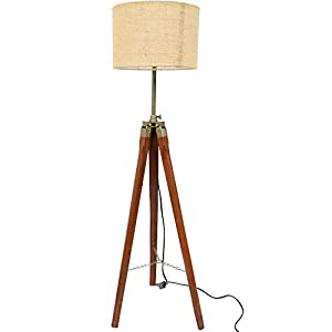 Paradise-Nauticals-Modern-Designed-Jute-Fabric-with-Khadi-Shade-Wooden-Italian-Crafter-Decorative-Antique-Tripod-Standing-Floor-Lamp-Brown